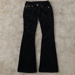 True Religion Black Velvet Flare Leg Jeans Pants